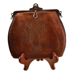 Vintage Tooled Leather Purse With Metal Closure